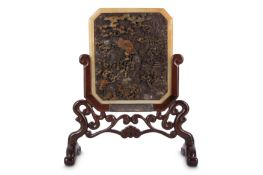 A CHINESE CARVED SOAPSTONE TABLE SCREEN.