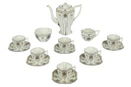 A SHELLY PORCELAIN PART COFFEE SERVICE,