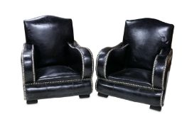 A PAIR OF ART DECO STYLE ARMCHAIRS, MID 20TH CENTURY,