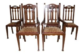 JAS. SHOOLBRED & CO, A SET OF SIX ARTS & CRAFTS OAK DINING CHAIRS RETAILED AT LIBERTY'S