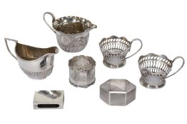 A COLLECTION OF STERLING SILVER ITEMS INCLUDING A VICTORIAN MILK JUG