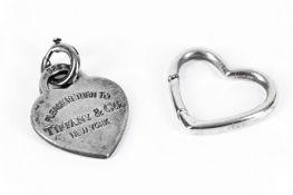 A TIFFANY AND CO HEART SHAPED PENDANT 'PLEASE RETURN TO TIFFANY & CO NEW YORK',