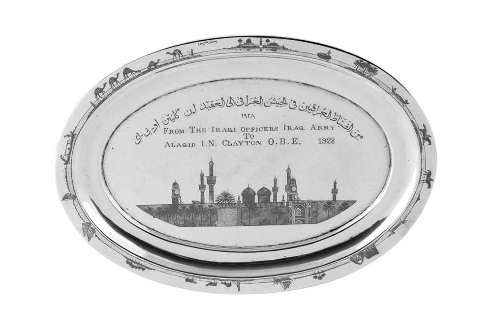 An early 20th century Iraqi silver and niello tray, Basra dated 1928 signed Baghdad Onaisi (Onaisi A