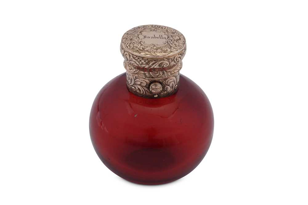A Victorian unmarked gold mounted ruby glass scent bottle, London circa 1850 by Thomas Diller (1807-