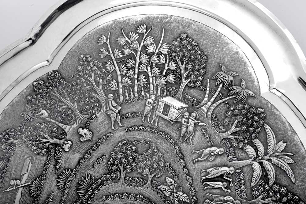 A late 19th / early 20th century Anglo – Indian unmarked silver twin handled tray, Calcutta circa 19 - Image 5 of 6