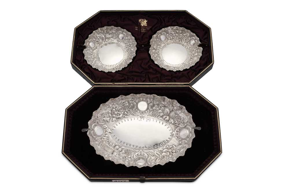 A cased set of Victorian sterling silver dishes, London 1891 by Josiah Williams & Co (George Maudsle