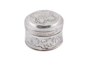 An early 18th century Dutch or German silver powder or spice box, circa 1730 by G.G (unascribed)