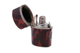 A George III late 18th century unmarked silver mounted tortoiseshell scent bottle etui, circa 1770