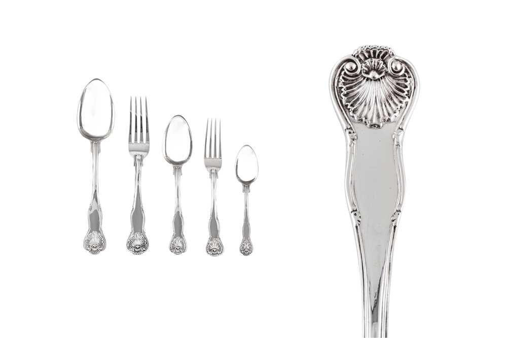 A William IV sterling silver straight table service of flatware / canteen, London 1835 by James Beeb
