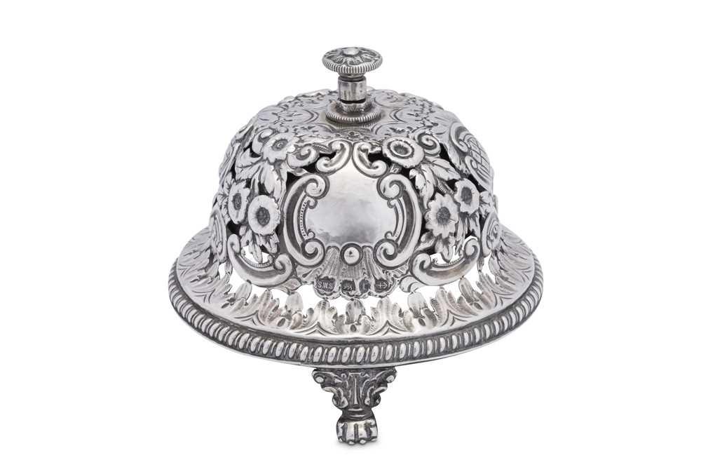 A Victorian sterling silver table bell, Birmingham 1891 by Samuel Walton Smith
