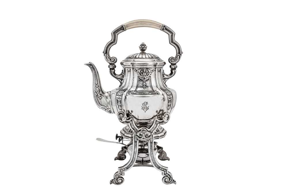 An early 20th century German 800 standard silver five-piece tea and coffee service on tray, Heilbron - Image 7 of 9