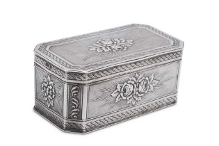 An early 20th century German sterling silver snuff box, Kesselstadt by Karl Kurz, import marks for C