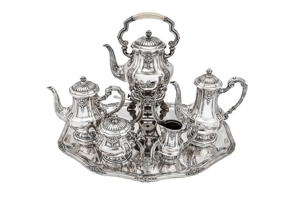 An early 20th century German 800 standard silver five-piece tea and coffee service on tray, Heilbron - Image 2 of 9