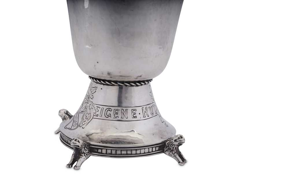 An early 20th century German historismus sterling silver goblet, Hanau by Neresheimer, import marks - Image 3 of 3