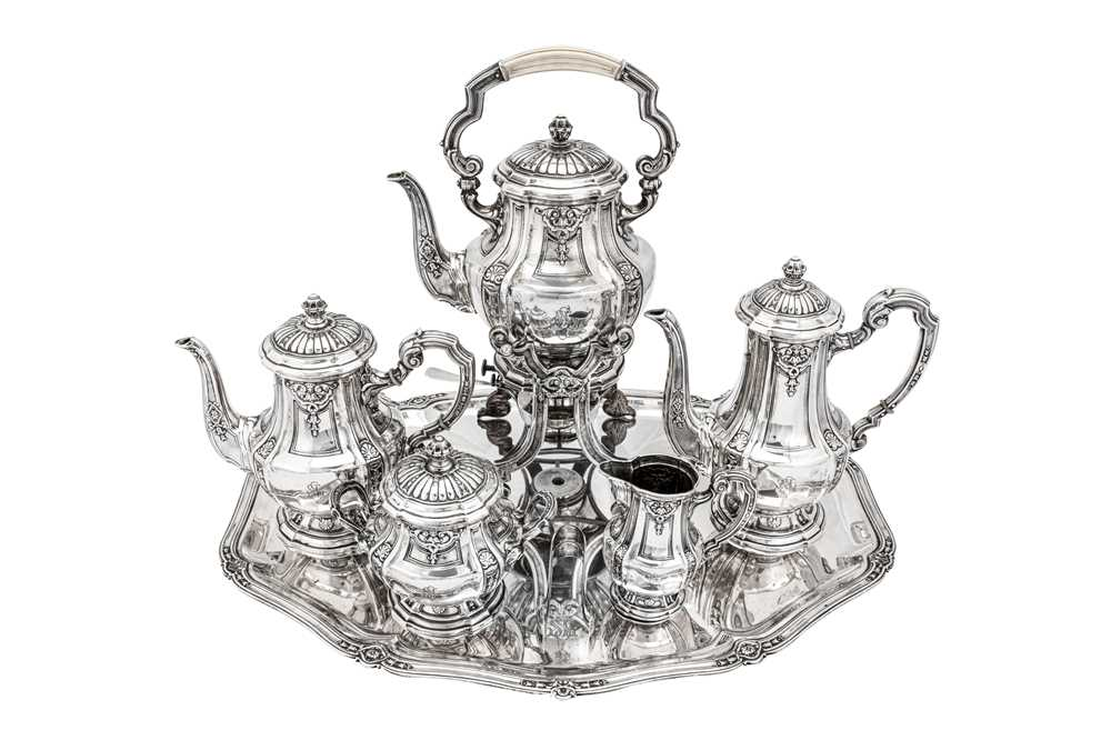 An early 20th century German 800 standard silver five-piece tea and coffee service on tray, Heilbron - Image 3 of 9