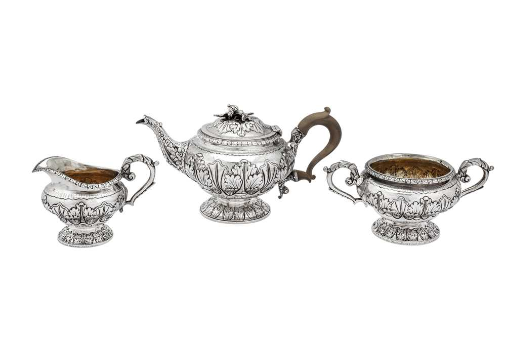 A George III sterling silver three-piece tea service, London 1817 by Joseph Biggs or John Booth