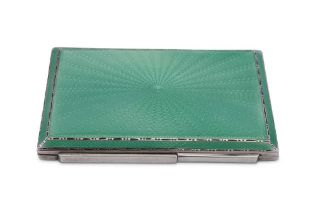 A George VI sterling silver and guilloche enamel art deco compact, Birmingham 1937 by Adie Brothers
