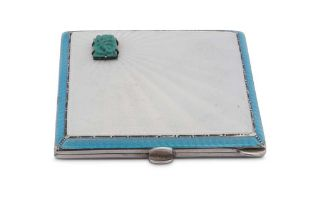 An Edward VIII sterling silver and guilloche enamel turquoise set art deco compact, Birmingham 1936