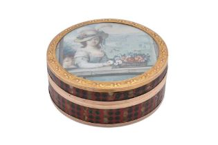A Louis XV late 18th century French gold mounted portrait miniature inset snuff box, Paris circa 177
