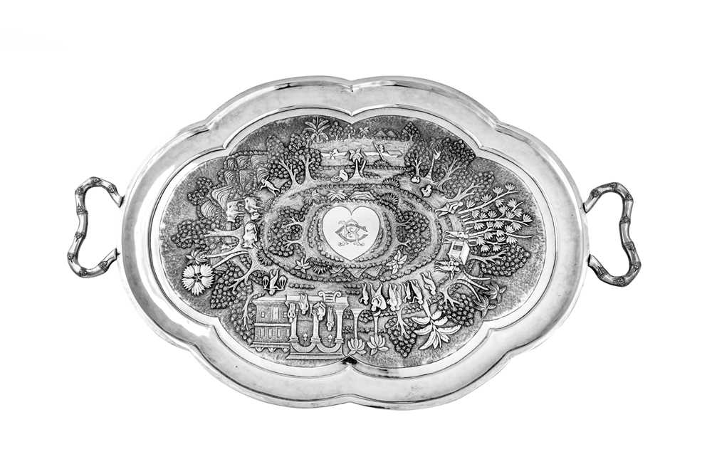 A late 19th / early 20th century Anglo – Indian unmarked silver twin handled tray, Calcutta circa 19