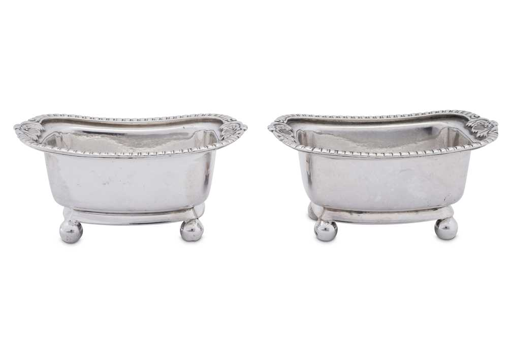 A pair of early 19th century Chinese Export silver salts, Canton circa 1820, mark of Cutshing