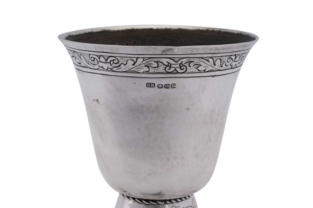 An early 20th century German historismus sterling silver goblet, Hanau by Neresheimer, import marks - Image 2 of 3