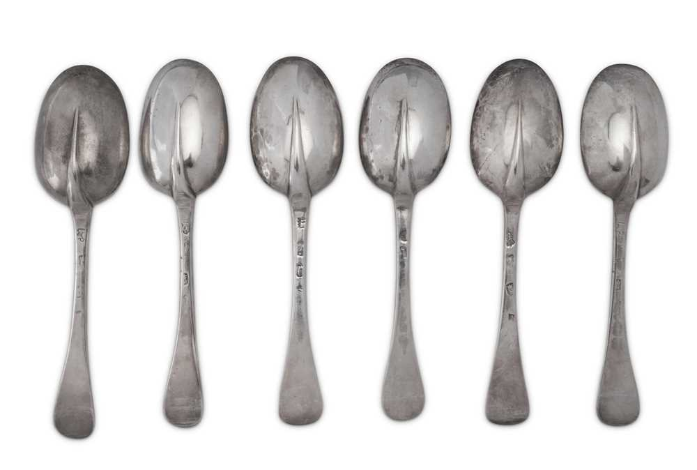 A matched set of six Queen Anne / George I Britannia standard silver tablespoons, three London 1708