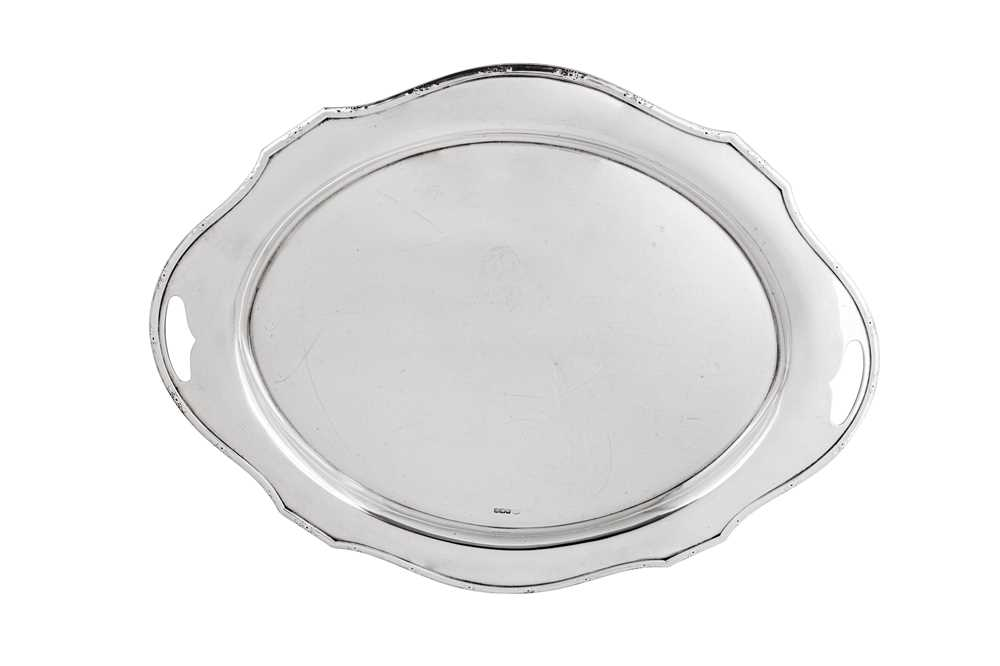 A George V sterling silver twin handled tray, Sheffield 1925 by Alexander Clark
