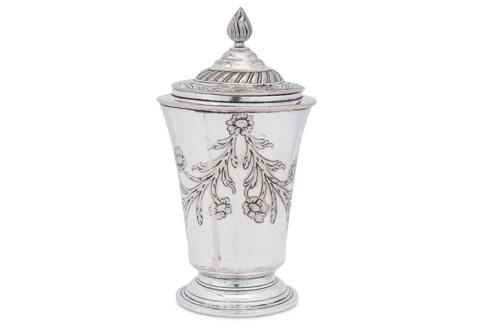 An unusual George III Old Sheffield Silver Plate covered beaker or cup, Sheffield circa 1765 by Jose