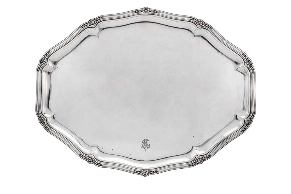 An early 20th century German 800 standard silver five-piece tea and coffee service on tray, Heilbron - Image 8 of 9