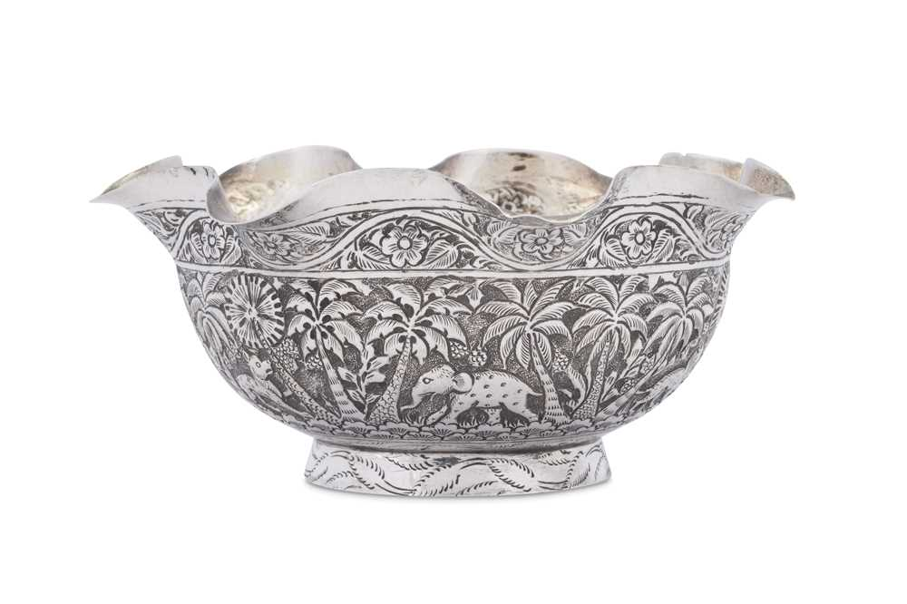 A late 19th century Anglo - Indian unmarked silver bowl, Lucknow circa 1890