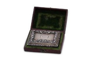 A cased George IV sterling silver vinaigrette, London 1827 by Nathanial Mills