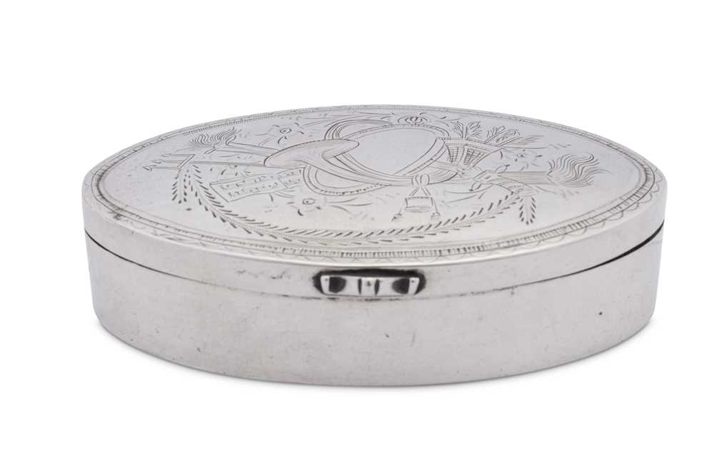 An early 19th century unmarked silver snuff box, probably German date 1820