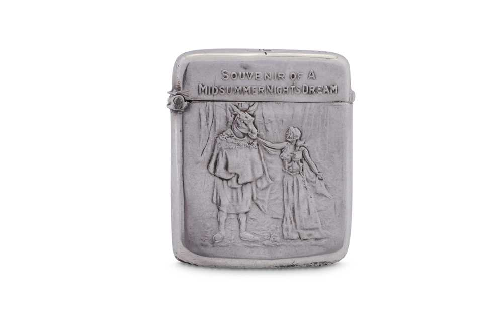 Theatrical Interest - An Edwardian sterling silver vesta case, London 1905 by Goldsmiths and Silvers