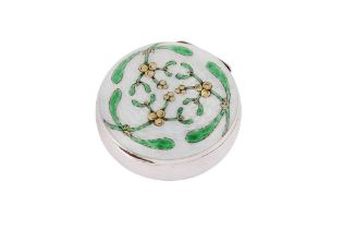 A late 19th century German unmarked silver and guilloche enamel pill box / compact, probably Pforzhe