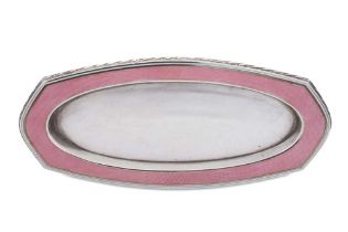 An early 20th century German unmarked silver and guilloche enamel pin dish, Pforzheim circa 1910
