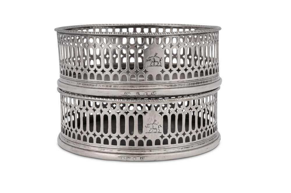 A pair of George III sterling silver wine coasters, London 1773 by I.W possibly for John Weldring (G - Image 3 of 3