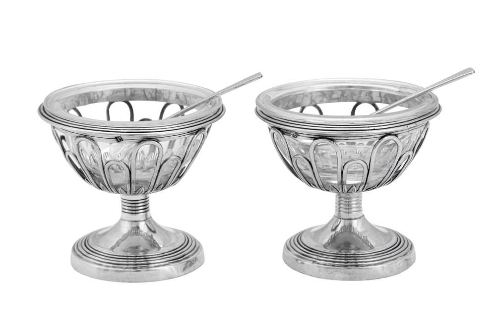 A pair of Charles X / Louis Phillipe early 19th century French 950 standard silver salts, Paris 1819