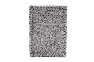 A Victorian sterling silver card case, Birmingham 1869 by Fredrick Elkington