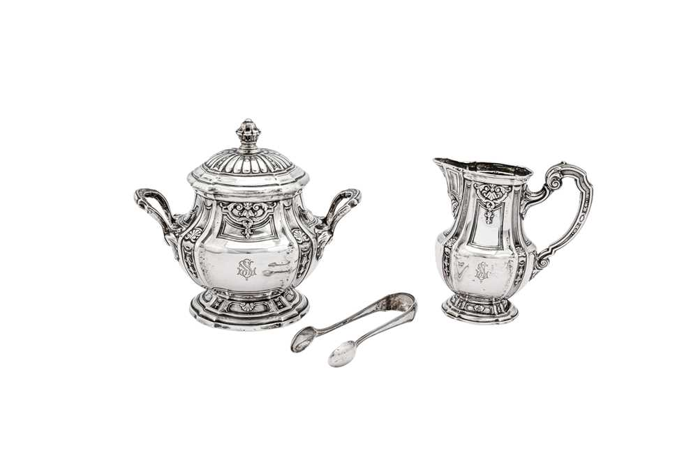 An early 20th century German 800 standard silver five-piece tea and coffee service on tray, Heilbron - Image 5 of 9
