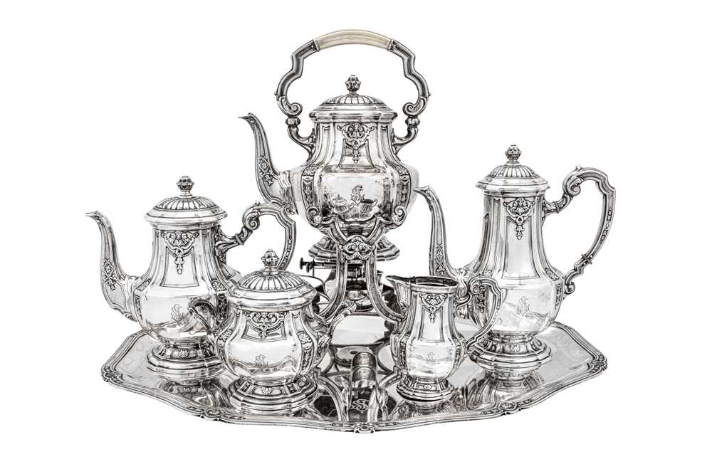 An early 20th century German 800 standard silver five-piece tea and coffee service on tray, Heilbron