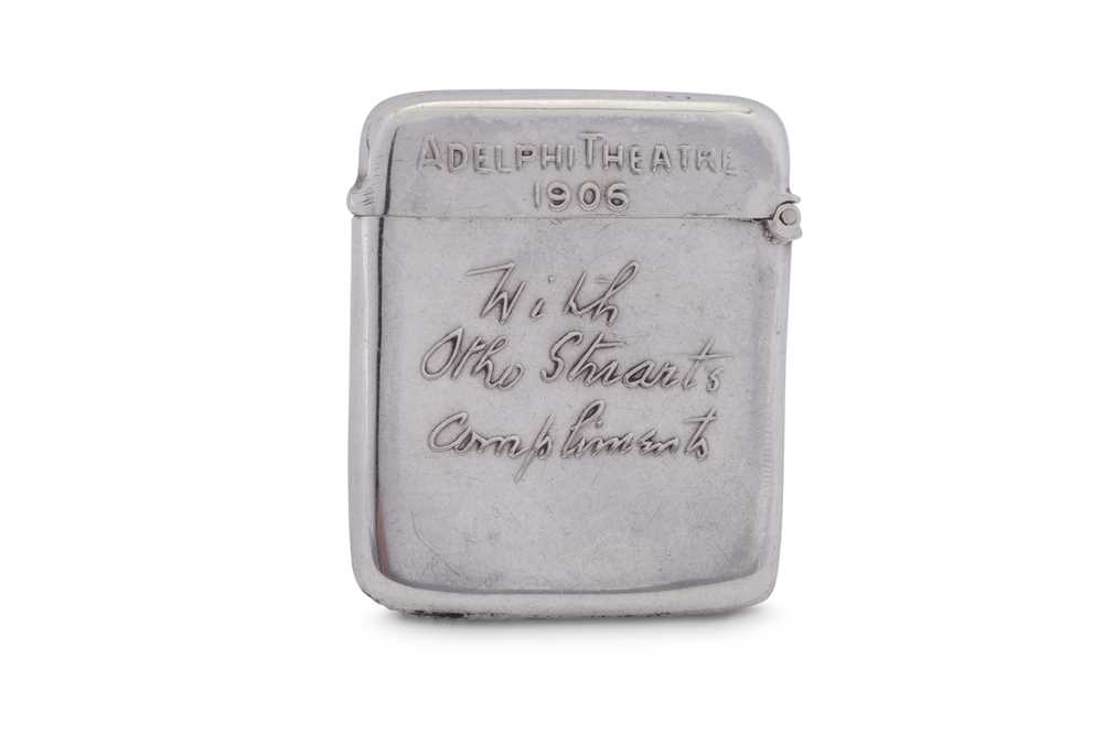 Theatrical Interest - An Edwardian sterling silver vesta case, London 1905 by Goldsmiths and Silvers - Image 2 of 2