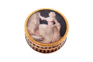 A Louis XV mid-18th century French unmarked gold mounted shell composite snuff box, probably Paris c