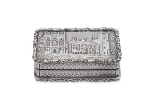 A William IV sterling silver 'castle top' vinaigrette, Birmingham 1835 by Taylor and Perry