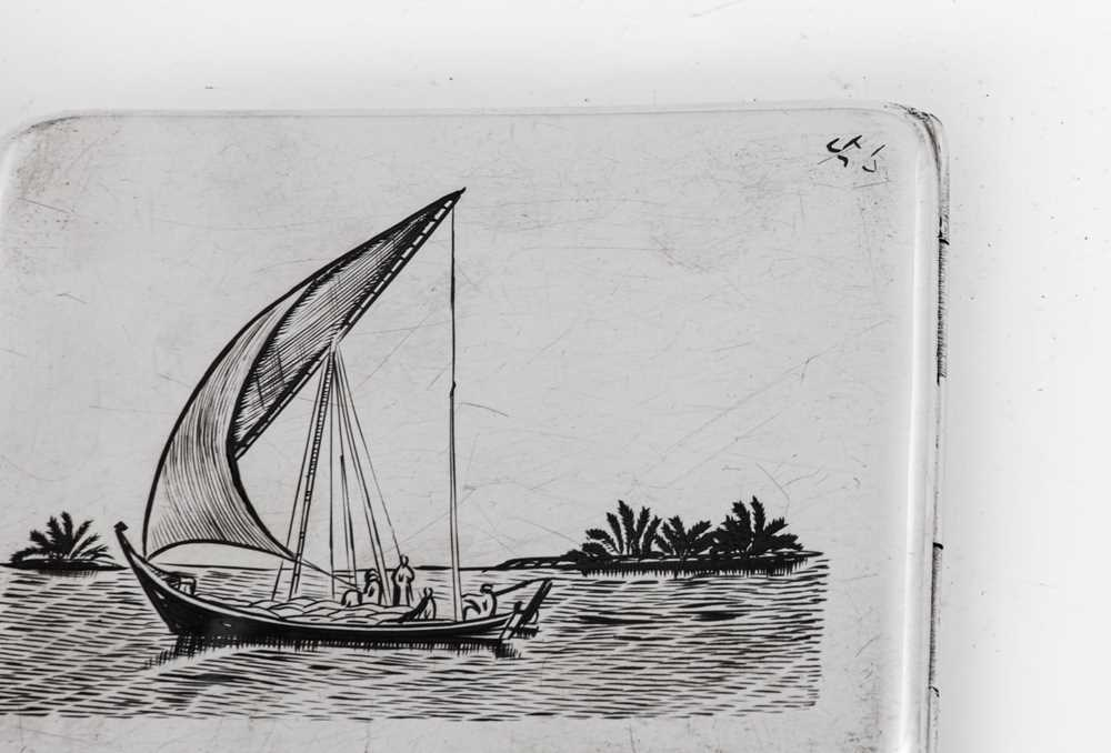An early 20th century Iraqi silver and niello cigarette case, Basra circa 1940 signed Dayil - Image 4 of 4