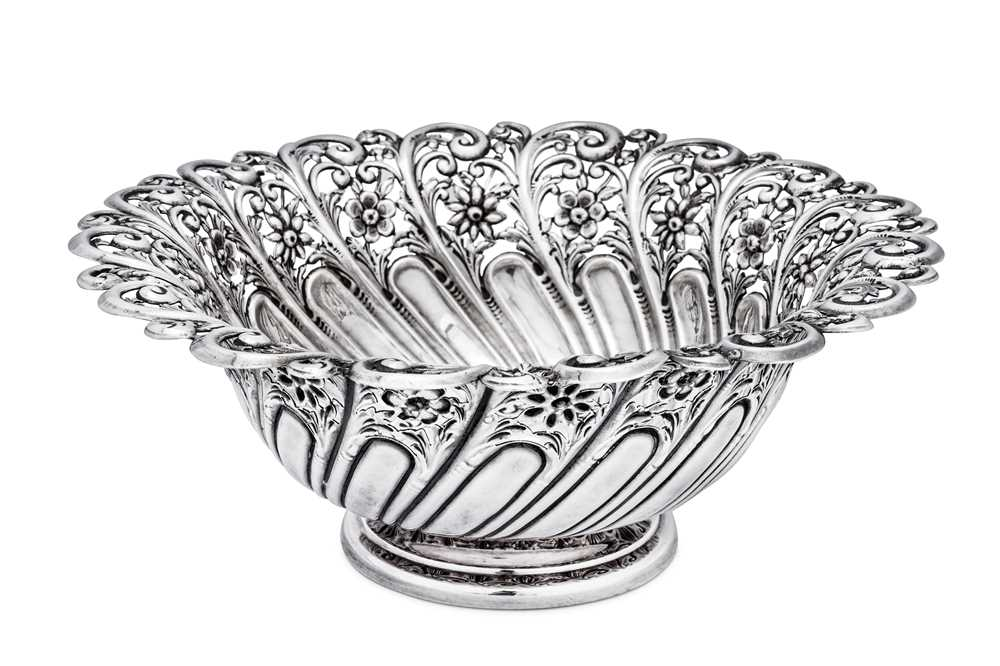 A Victorian sterling silver fruit bowl, Sheffield 1900 by James Dixon and Sons