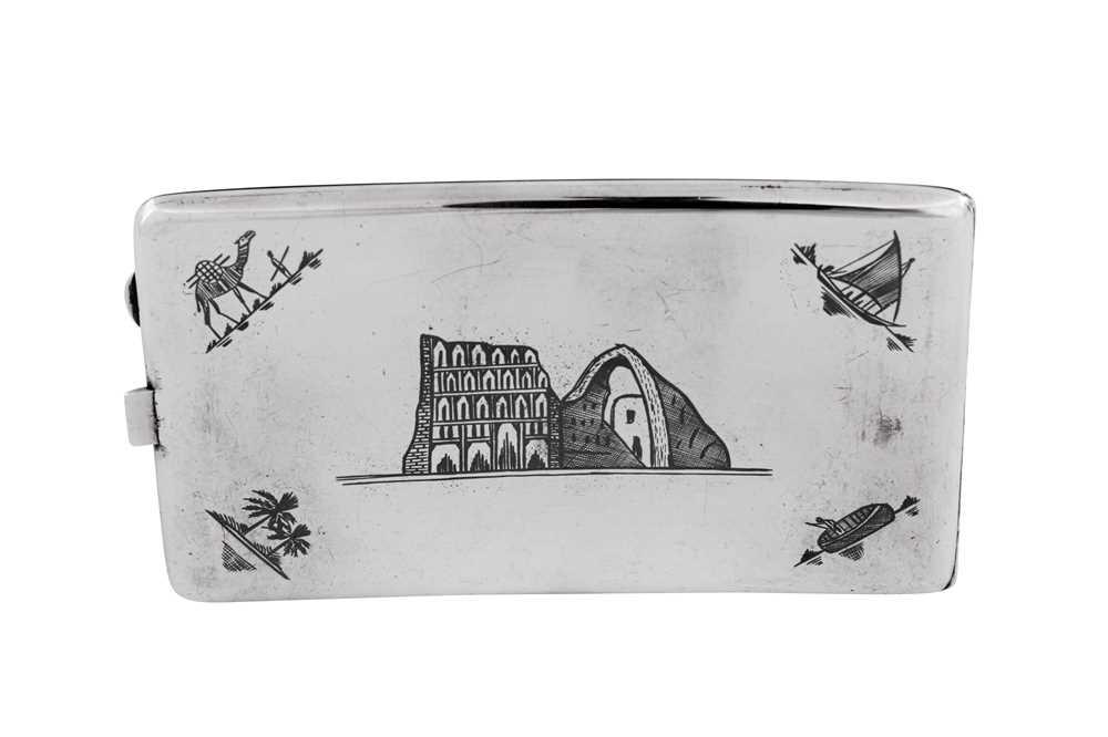 An early 20th century Iraqi silver and niello cigarette case, Basra circa 1930 - Image 3 of 4