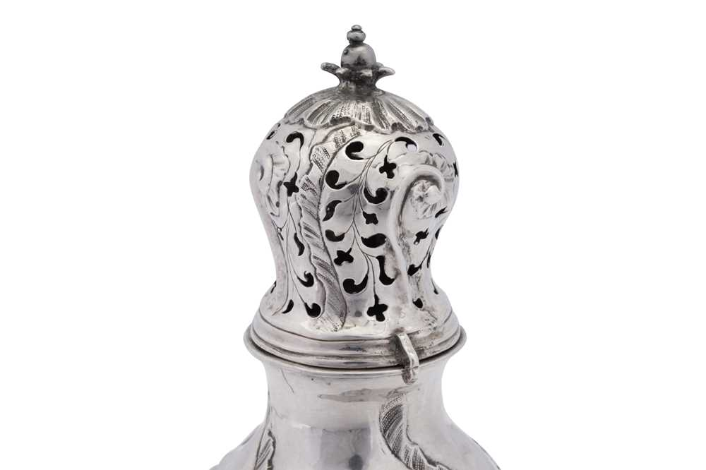 A mid- 18th century Danish silver sugar caster, Copenhagen 1755 makers mark obscured, SS? - Image 2 of 3