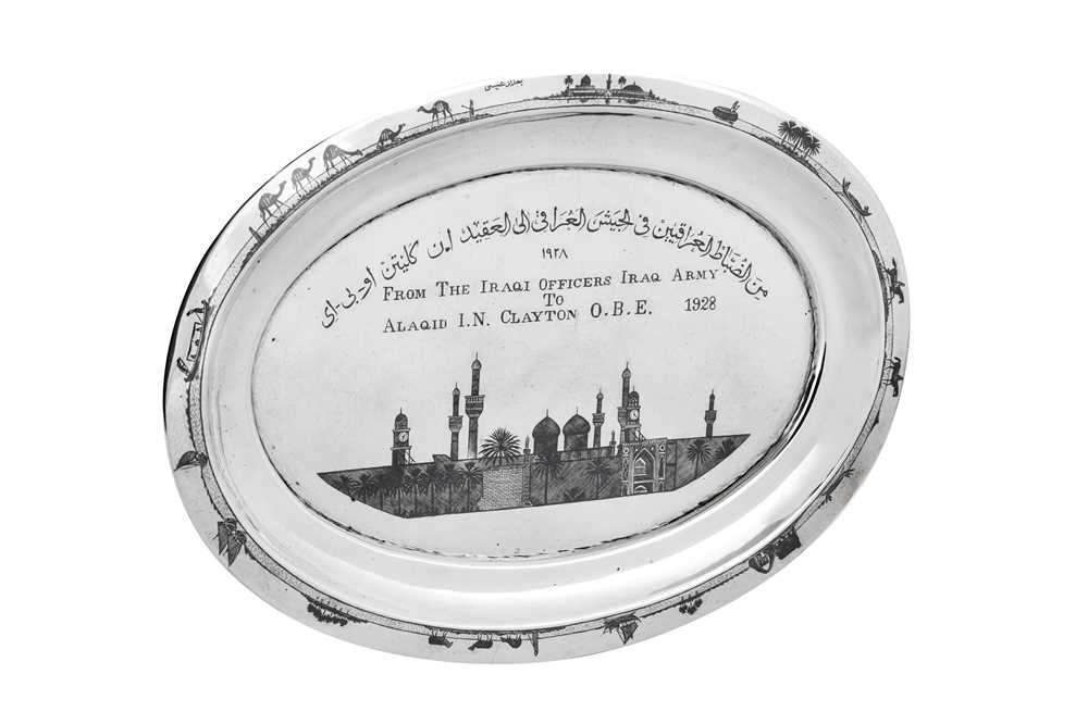 An early 20th century Iraqi silver and niello tray, Basra dated 1928 signed Baghdad Onaisi (Onaisi A - Image 2 of 5