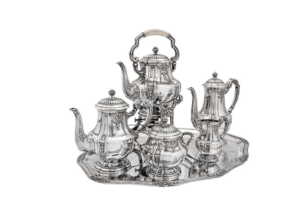 An early 20th century German 800 standard silver five-piece tea and coffee service on tray, Heilbron - Image 4 of 9